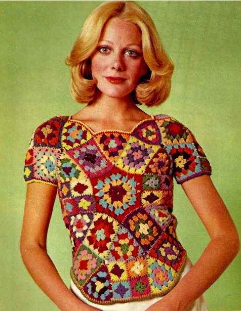 The Vintage Pattern Files: Free 1970's Crochet Pattern - Stained Glass Shell Top