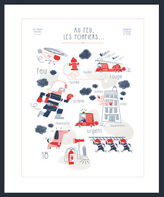 Clod illustration Imagerie d'Épinal poster pompier