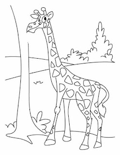Smile Baby Giraffe Familly Coloring Pages At Zoo
