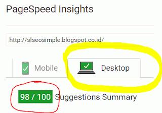 Kecepatan loading saat dibuka melalui Desktop