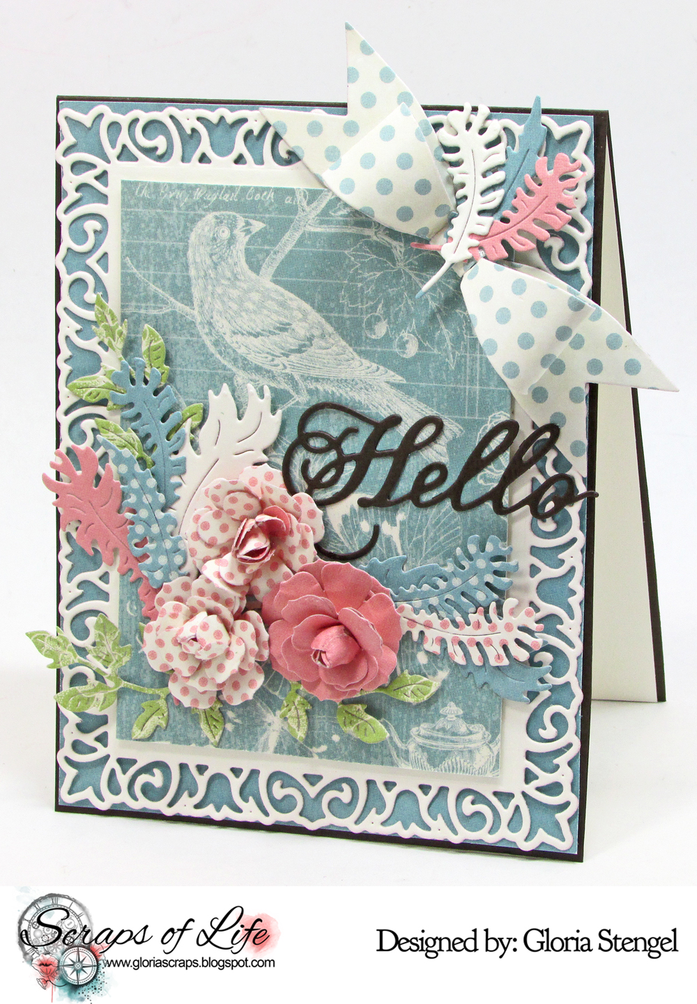 Hello card with august guest designer gloria stengel cheery lynn i wanted to match the current challenge challenge 235 back to nature theme so i found paper with a bird on it and went to town with my new dies m4hsunfo