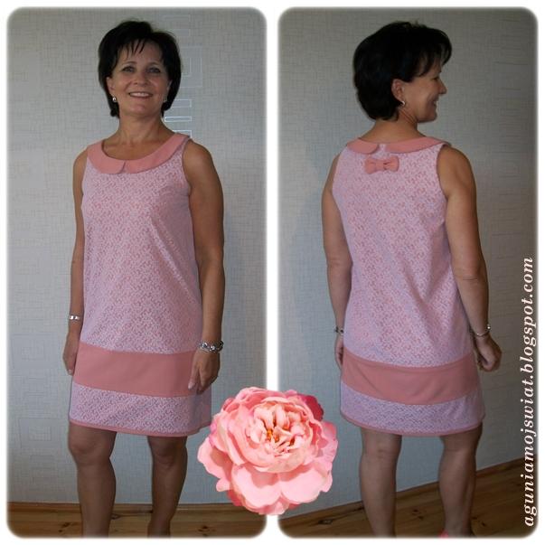 Witamy mamę Wiesię - szycie mamy w genach:) Sukienka uszyta przez mamę.