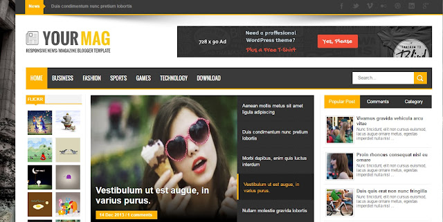 Mymag Blogger Responsive Template