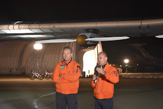 Solar Impulse 2 pilots André Borschberg and Bertrand Piccard at Moffett Field, Mountain View, California