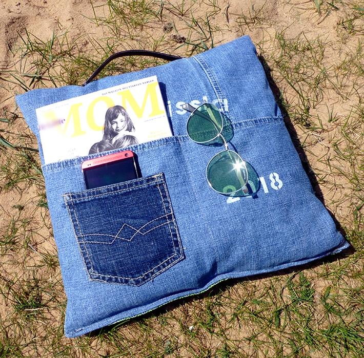 Lesekissen aus Jeans mit Brille und Handy - DIY vonKarin