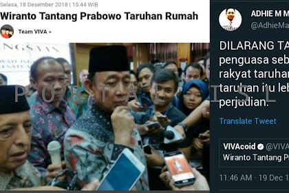 Wiranto Ajak Prabowo Taruhan, Pejabat kok Ajak Taruhan? Mantan Aspri Gus Dur SENTIL: Elite Penguasa Sebaiknya Tidak Mengajari Rakyat Taruhan