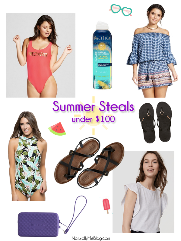 Summer swimsuits, SPF, Palm Print Swimsuits, Swimsuits Under $50, Pacifica Sunscreen, Pacifica Mineral Sunscreen, Naturally Me, Summer Steals Under $100, Affordable Summer Clothes, Target Firecracker Swimsuit, Havaianas Flip Flops, Target Romper