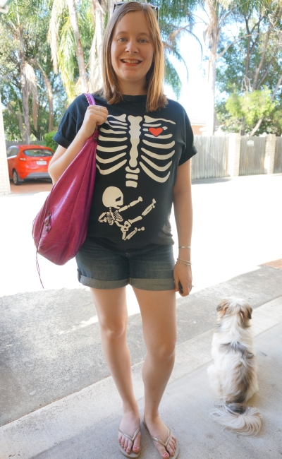 Away From Blue Blog | Third Trimester maternity denim shotrs ninja baby skeleton novelty tee