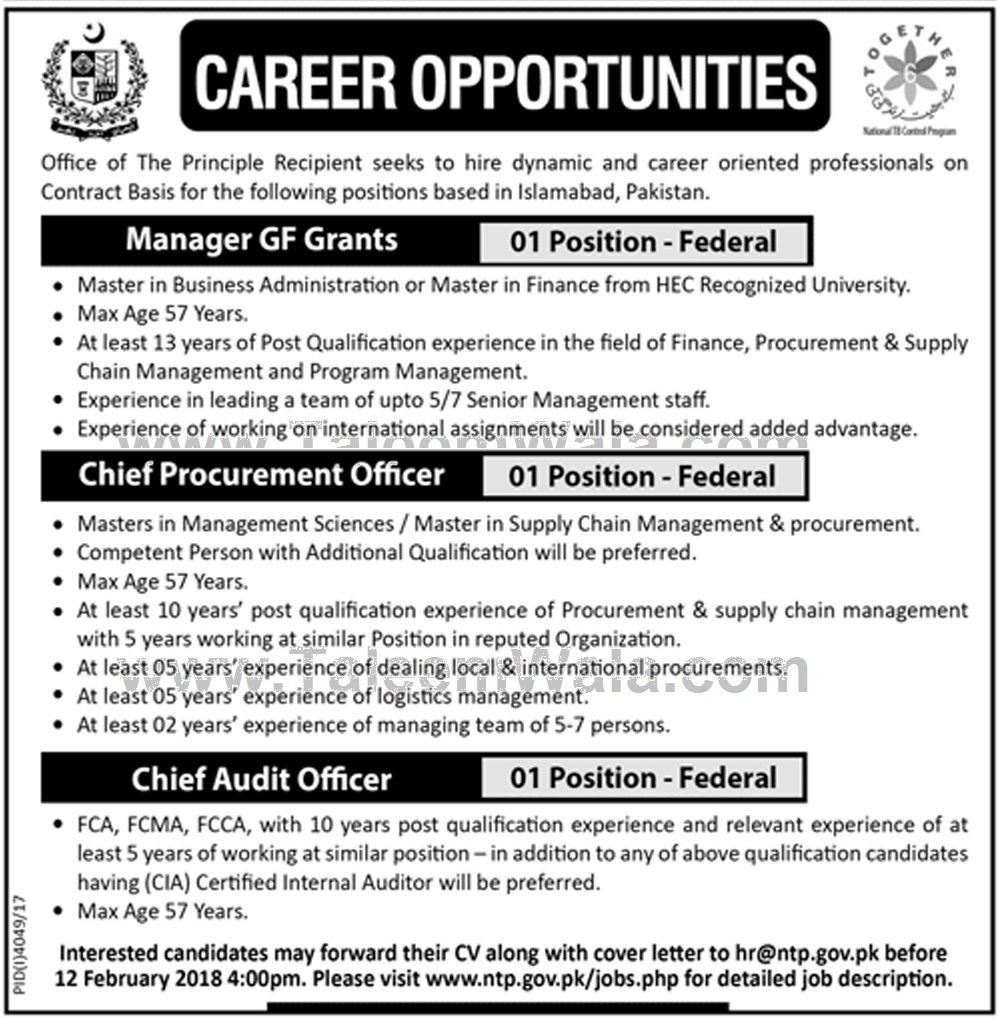 Jobs In National TB Control Program Islamabad January 2018