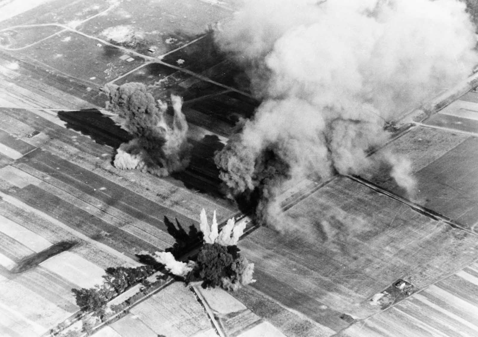 Aerial view of bombs exploding during a German bombing run over Poland in September of 1939.