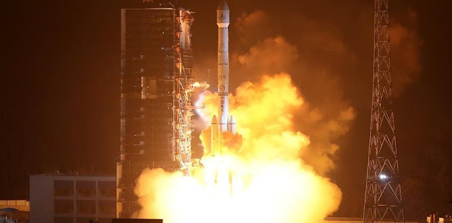The Long March 3B booster launches from the Xichang Satellite Launch Center carrying the Fengyun-4A weather satellite. Photo Credit: Xinhua / Chen Jianli