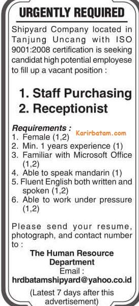 Lowongan Kerja Staff Purchasing dan Resepsionis