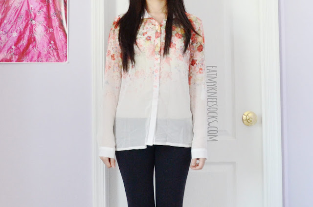 A cute spring outfit featuring Dresslink's sheer long sleeve floral blouse, modeled with Jeffrey Campbell Lita Spike platform booties dupes and black leggings.