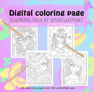 anime doodle girl coloring pages bundle of 4 pages