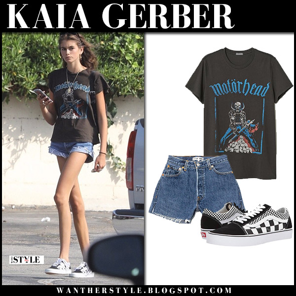 Kaia Gerber in black h&m Motorhead t-shirt and denim shorts model off duty style august 18