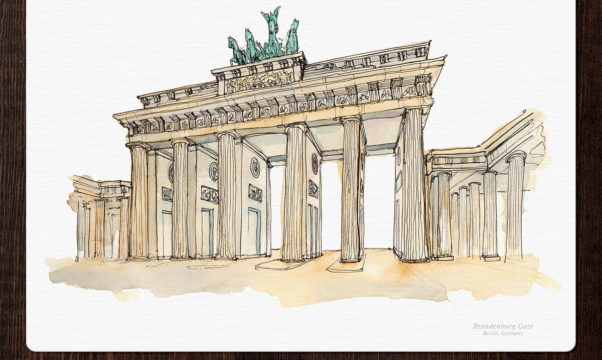 11-Brandenburg-Gate-Germany-Mucahit-Gayiran-Architectural-Landmarks-Mixed-Media-Art-Part-2-www-designstack-co
