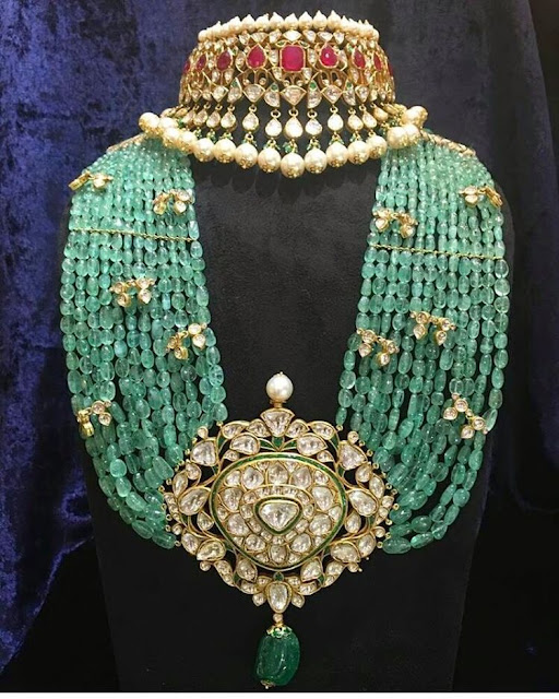 Multi Layers Zambian Emerald Beads Set