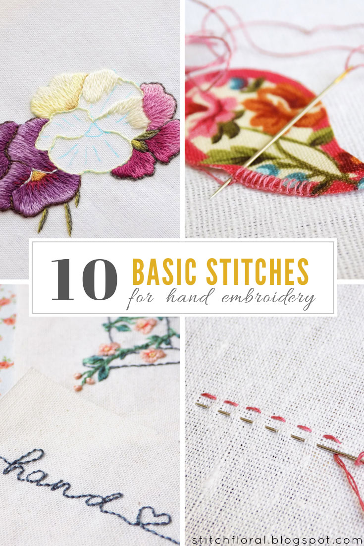 10 Basic Stitches For Hand Embroidery Stitch Floral