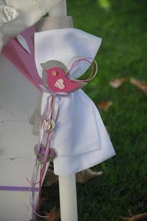 λαμπάδα για κοριτσάκι με υφασμάτινο πουλάκι καρδούλες κορδέλες