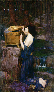 A 19th century painting of Pandora opening her box.