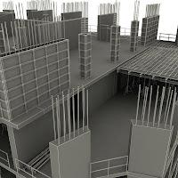 Bir karkas inşaatın 3D çizimi
