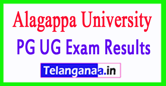 Alagappa University Results 2018 UG PG Exam Results
