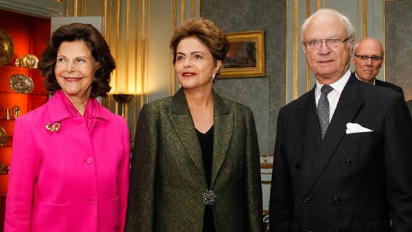 King Carl Gustaf And Queen Silvia Met With Dilma Rousseff