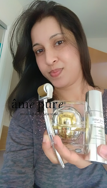 I have been using âme pure CIT Face roller and the collagen therapy gel for almost 2 months and the duo multiplex moisturizer for a month now and I cannot tell you how happy I am with the results.