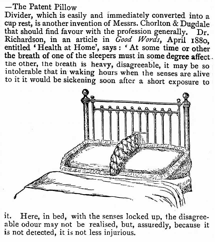 1881 bed divider illustration, pillow divider