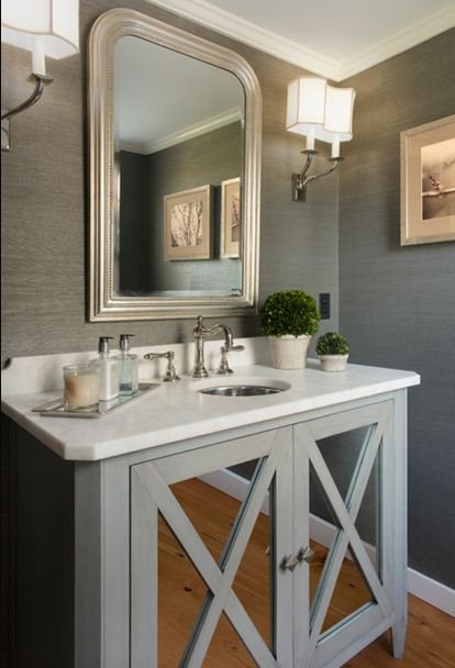 grey silver chrome half bath mirrored vanity storage ideas
