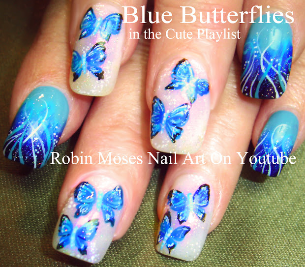 """Robin Moses Nail Art Spring Butterfly Design Tutorial """"monarch Butterfly"""""""
