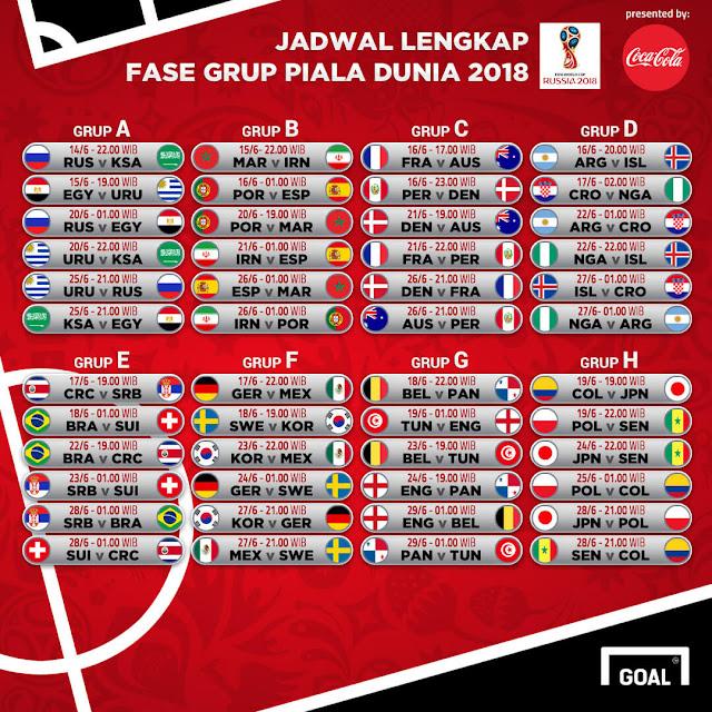 Jadwal Piala Dunia 2018 Russia Lengkap (UPDATE)
