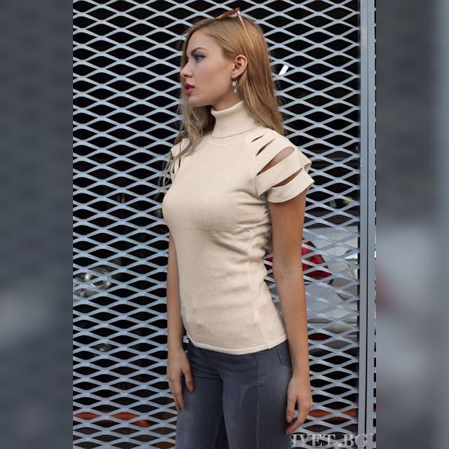 Μεσάτη  γυναικεία μπεζ μπλούζα CIERA BEIGE