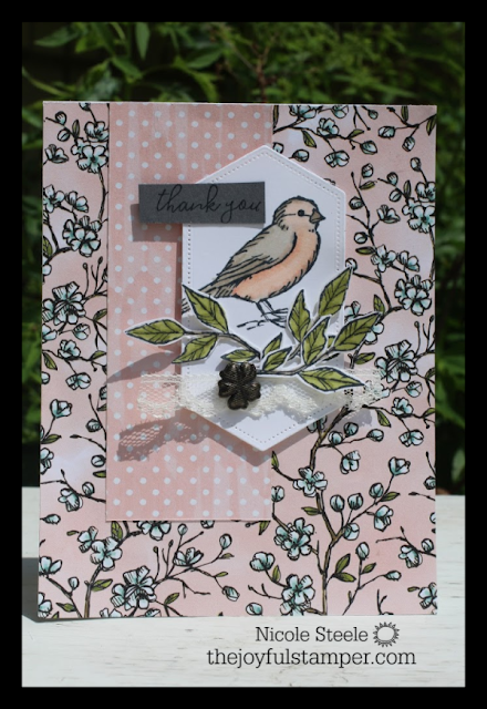 beautiful card using Stampin' Up!'s Free As A Bird bundle (part of Online Extravaganza beginning November 20