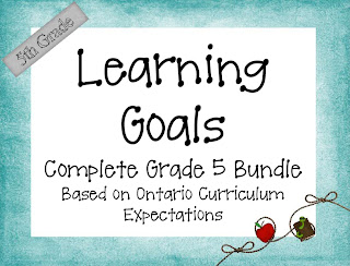 photo of Grade 5 Learning Goals based on the Ontario Curriculum Expectations