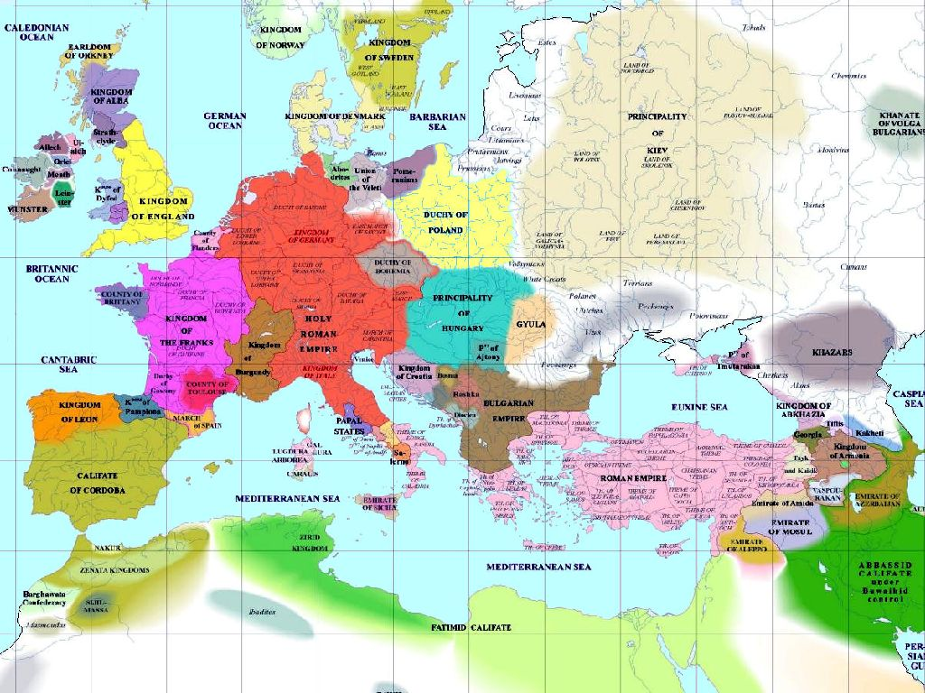 europe map 1000 ad
