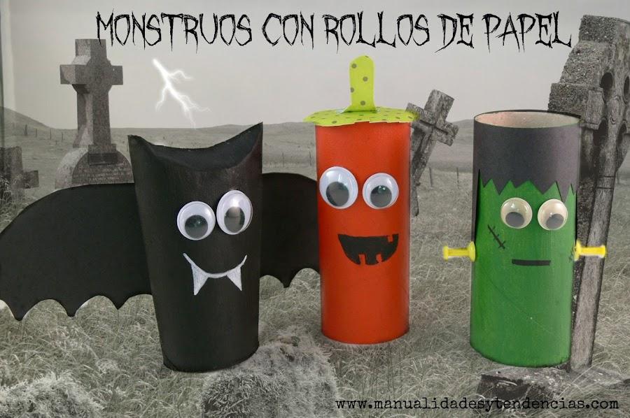 Monstruos de Halloween hechos con rollo de papel higiénico