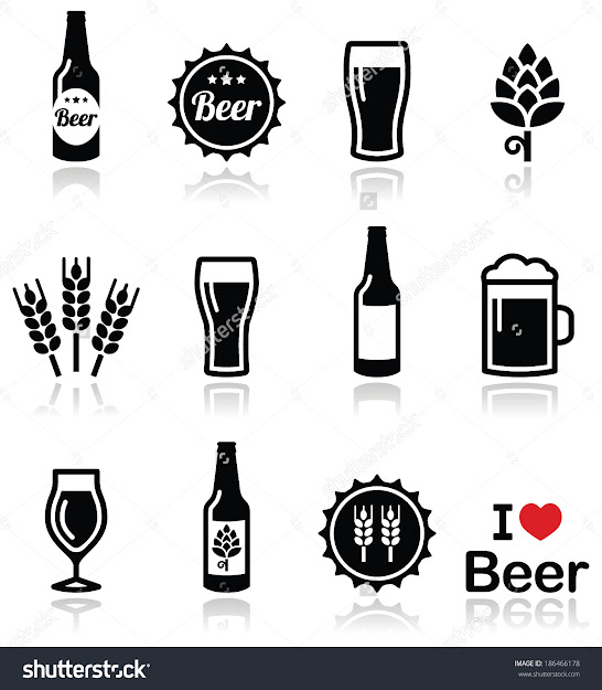 Beer Vector Icons Set  Bottle Glass Pint