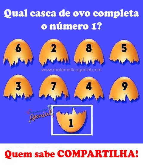 Qual casca de ovo completa o número 1?