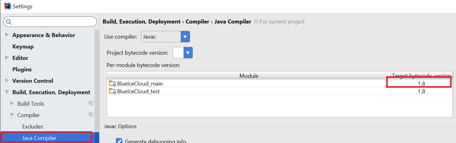 java compiler settings intellij