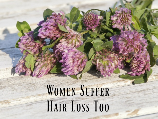 women-suffer-hair-loss-too-text-over-image-of-red-clover