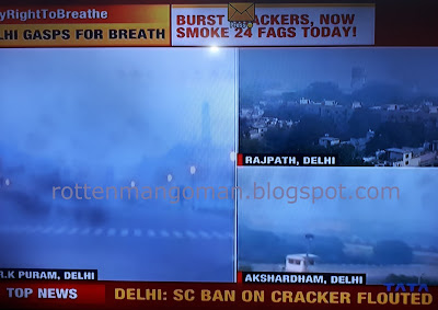 rottenmangoman Lancet Report pollution blog T.V. grab of typical news channels in India highlighting the increase in pollution levels after Diwali