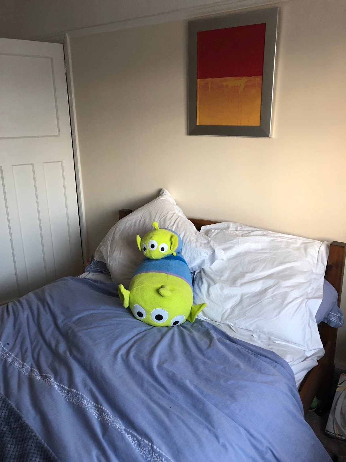Toys on a bed