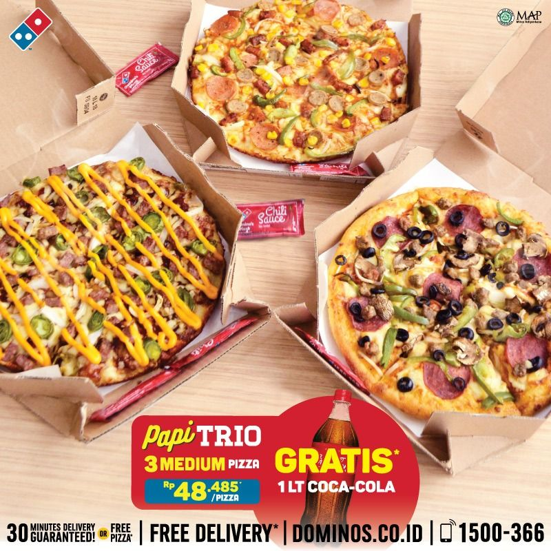 #Dominos - Promo PAPI TRIO 3 Pizza Cuma 145K + Gratis 1Lt Coca Cola (s.d 31 Des 2018)