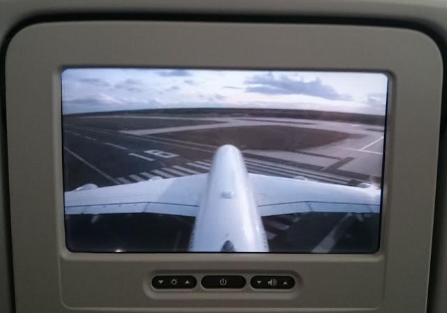 A380-800 der Lufthansa - Abflug in Frankfurt im Bordfernsehen