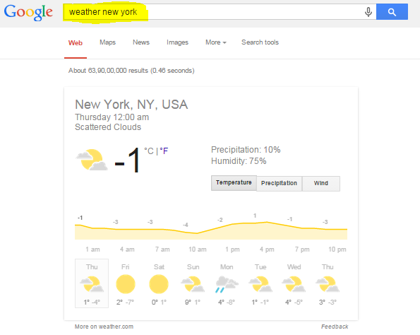 Weather on Google