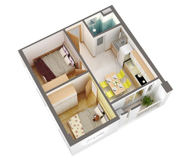 Căn hộ A, 2 phòng ngủ