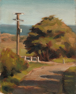 Oil painting of a cypress tree and an electricity pole with a twisting road in the foreground.