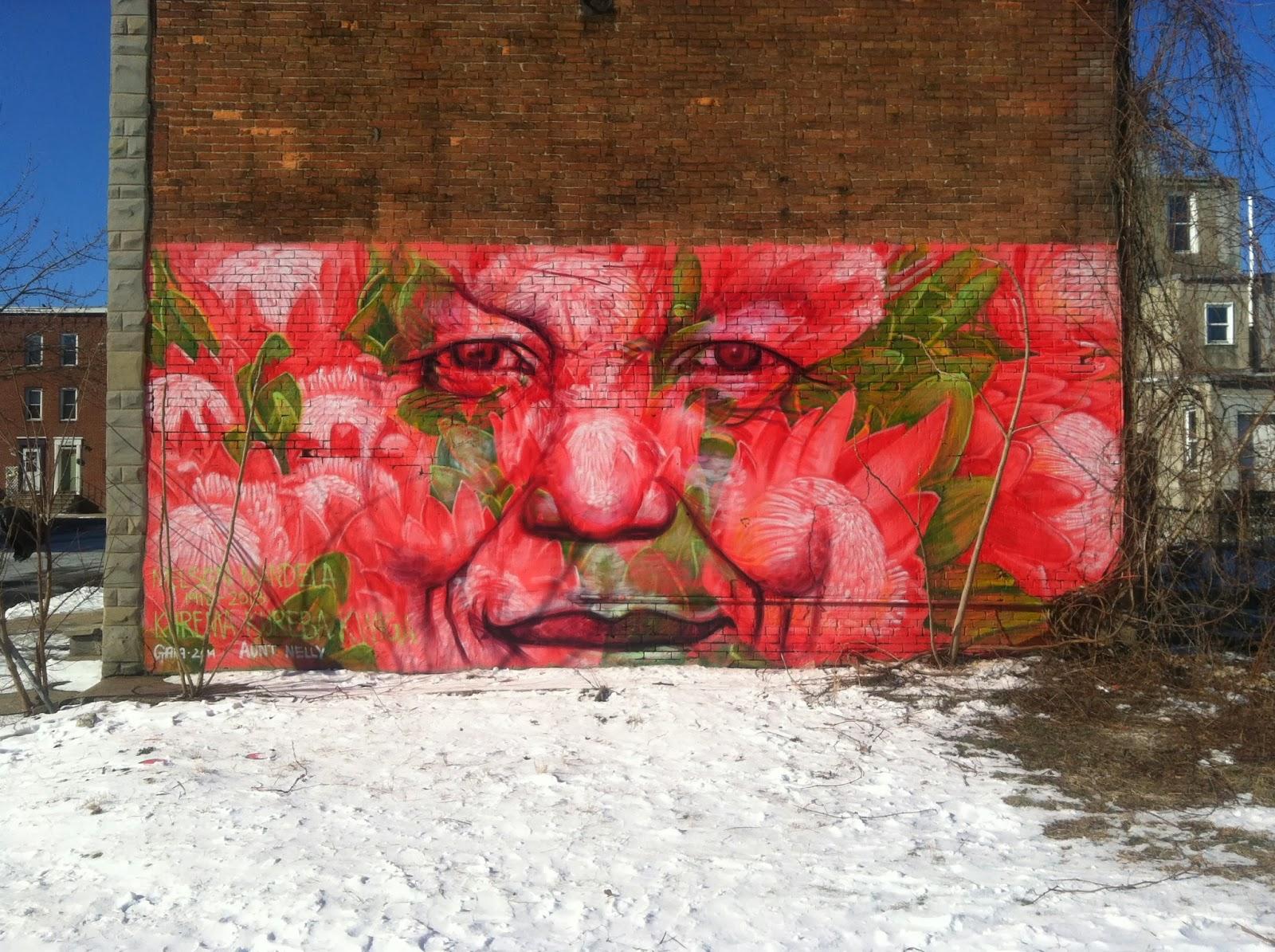 """""""Kurema, Kureba, Kwiga"""" Mandela Memorial Mural by American Street Artist Gaia in Southwest Baltimore. 1"""