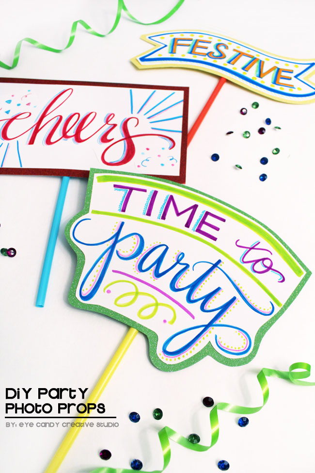 photo props, DIY photo props, time to party, cheers, festive, party decor